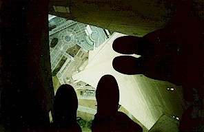 Standing on a glass floor in Toronto's CN tower